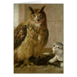 Eagle Owl and Cat with Dead Rats Greeting Card