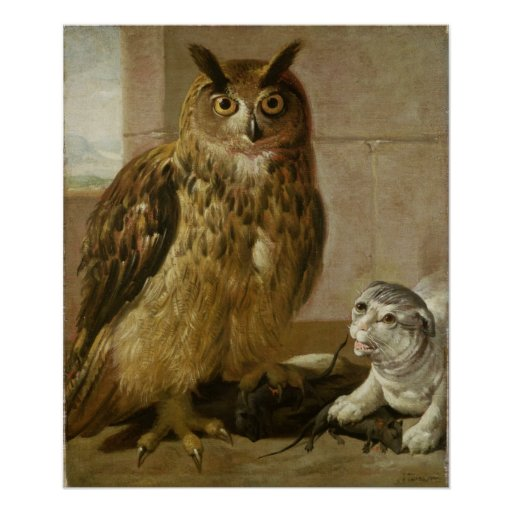 Eagle Owl and Cat with Dead Rats Poster