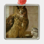Eagle Owl and Cat with Dead Rats Silver-Colored Square Decoration
