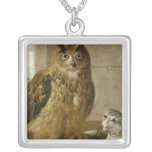 Eagle Owl and Cat with Dead Rats Square Pendant Necklace