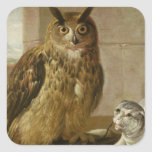 Eagle Owl and Cat with Dead Rats Square Sticker