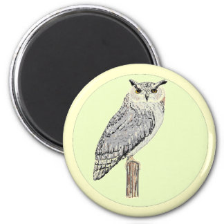 Eagle Owl bird drawing 6 Cm Round Magnet