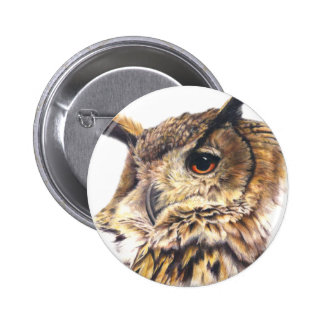 Eagle owl button/badge 6 cm round badge