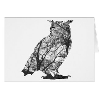 Eagle owl forest trees greeting card
