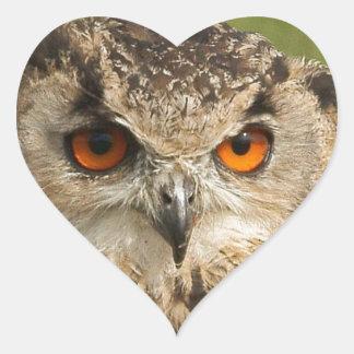 Eagle owl heart sticker