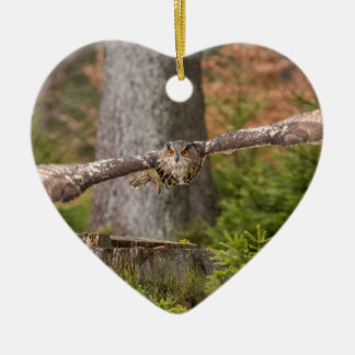 Eagle Owl in Flight Christmas Ornament