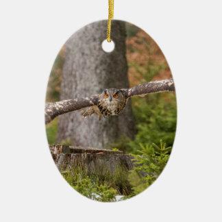 Eagle Owl in Flight Christmas Ornament