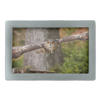 Eagle Owl in Flight Rectangular Belt Buckles