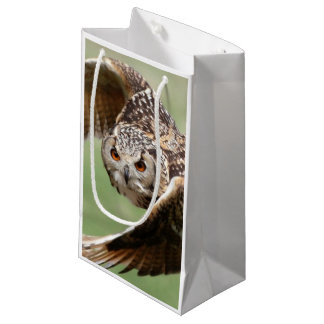 Eagle Owl In Flight Small Gift Bag