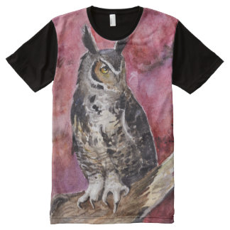 Eagle-owl watercolor painting All-Over print T-Shirt