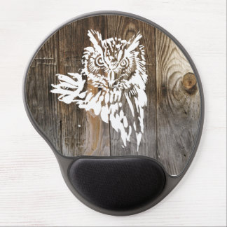Eagle Owl white  stencil old wood Gel Mouse Mat