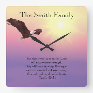 Eagle Pastel Sky Bright Sun Bible Verse Clock