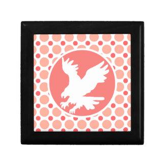 Eagle; Pink & Coral Polka Dots Gift Box