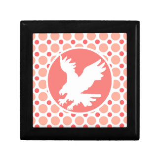 Eagle; Pink & Coral Polka Dots Small Square Gift Box