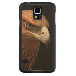 Eagle portrait isolated on black carved maple galaxy s5 case