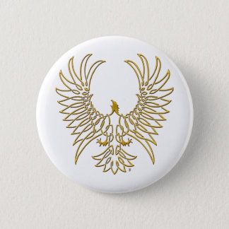 eagle rising, gold 6 cm round badge