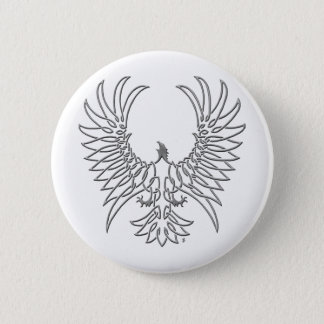 eagle rising, silver 6 cm round badge
