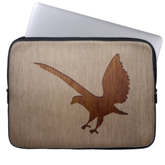 Eagle silhouette engraved on wood effect laptop computer sleeves