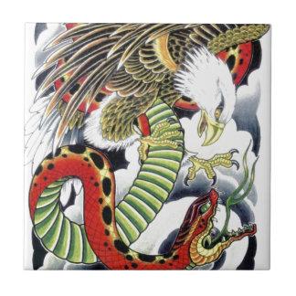 Eagle & Snake Japanese Tattoo Design Small Square Tile