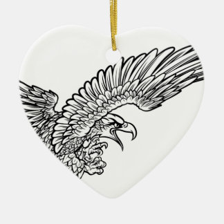 Eagle Swooping from the Side Ceramic Heart Decoration