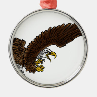 Eagle Swooping Silver-Colored Round Decoration