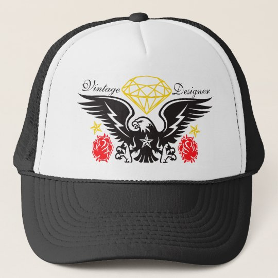 Eagle Tattoo Diamonds and Roses Vintage Desi Trucker