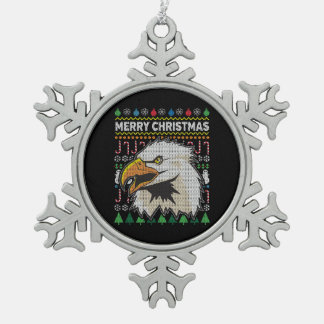 Eagle Ugly Christmas Sweater Wildlife Series Snowflake Pewter Christmas Ornament