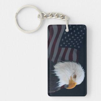 Eagle United States flag Double-Sided Rectangular Acrylic Key Ring