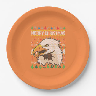 Eagle Wildlife Merry Christmas Ugly Sweater 9 Inch Paper Plate