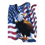 Eagle with American flag Postcards