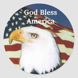 Eagle with flag, God Bless America Round Sticker