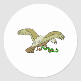 Eagle With Snake Round Stickers