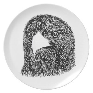 Eagle Woodblock Style Plate