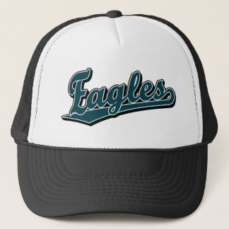 Eagles script logo in Custom Green Trucker Hat