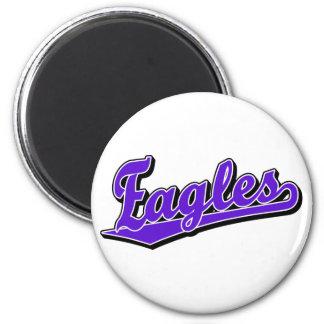 Eagles script logo in Purple 6 Cm Round Magnet