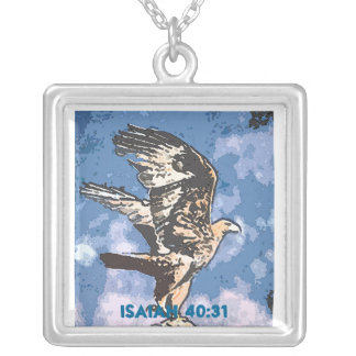 Eagles Wings - Isaiah 40:31 Square Pendant Necklace