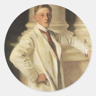 Earl of Dalhousie by Sargent, Vintage Portrait Art Round Sticker