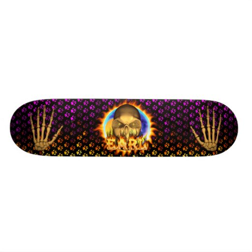 Earl skull real fire and flames skateboard design