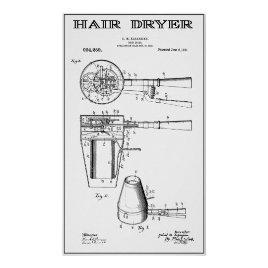 EARLIEST HAIR DRYER PATENT ART 1911 POSTER