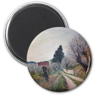 EARLIEST SPRING IN VERNALESE Tuscany Landscape Fridge Magnet