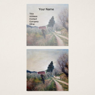 EARLIEST SPRING IN VERNALESE / Tuscany Landscape Square Business Card
