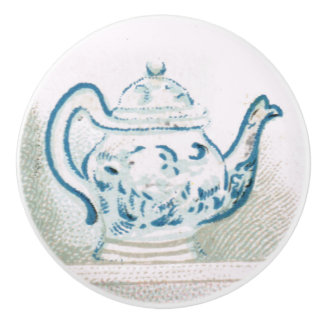 Early 1900s Blue & White Teapot Ceramic Pull