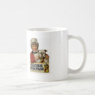 Early 1900s Globe Polish and Bulldog Classic White Coffee Mug