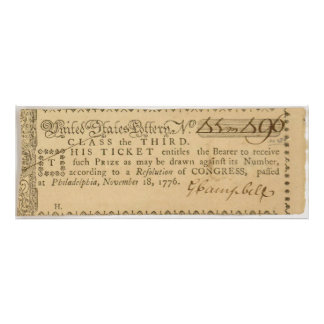 Early American Revolutionary War Lottery Ticket Photo Print