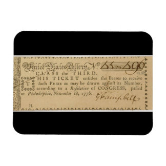 Early American Revolutionary War Lottery Ticket Rectangular Photo Magnet