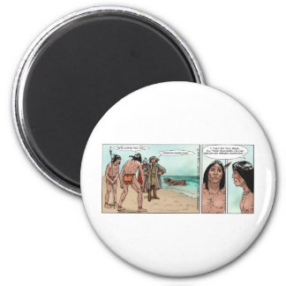 Early American Settlers Offbeat Cartoon Gifts 6 Cm Round Magnet