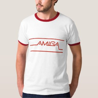 Early Amiga Logo Ringer T-shirt, Adults S to 2XL