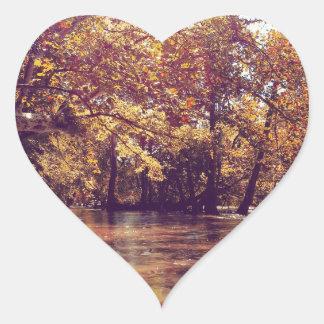 Early Autumn River Heart Sticker