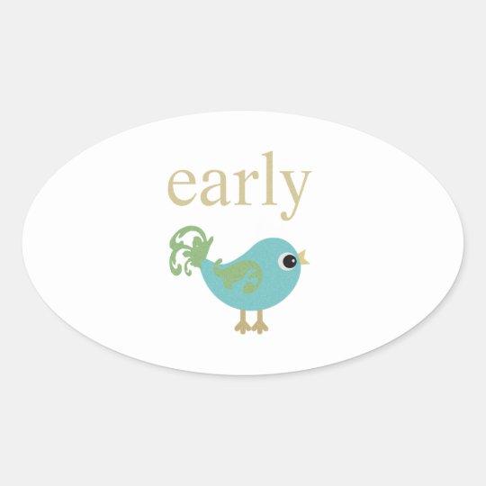 Early Bird Oval Sticker