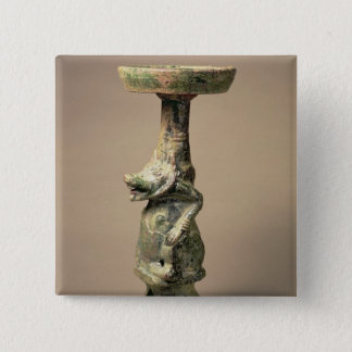 Early Chinese pottery lamp, tomb artefact 15 Cm Square Badge